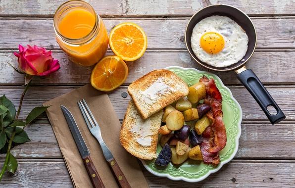 Picture rose, orange, Breakfast, juice, scrambled eggs, bacon, toast, potatoes