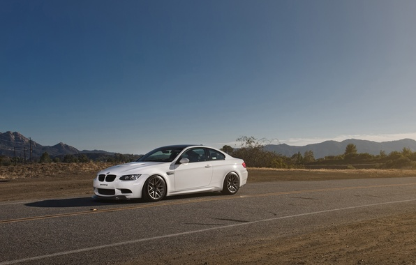 Picture white, the sky, mountains, bmw, BMW, front view, e92