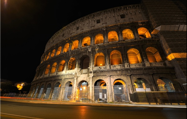 Picture the sky, night, lights, architecture, Colosseum, Italy, Rome