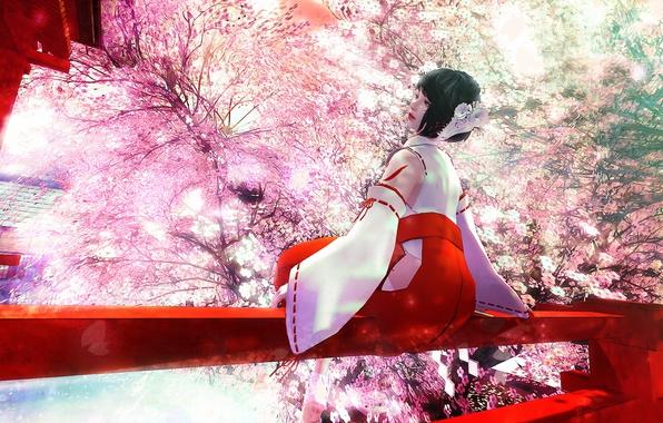 Picture girl, spring, garden