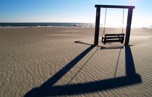 Picture sea, beach, landscape, swing, mood