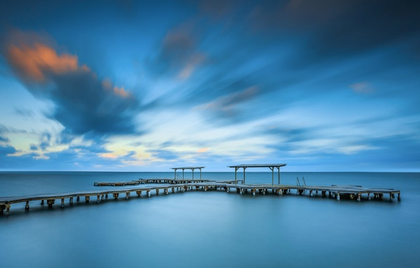 Picture sea, the sky, clouds, shore, the evening, pierce, calm, the bridge, Spain
