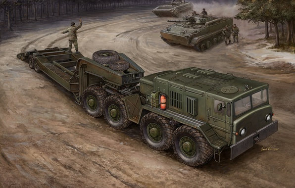 Picture engine, art, artist, Russia, military, tractor, for, The BMP-3, saddle, designed, conveyor, transportation, goods, loading, ...