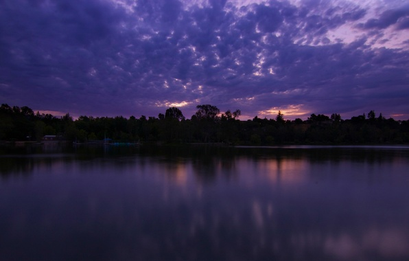 Picture the sky, water, clouds, trees, sunset, lake, surface, reflection, the evening, CA, USA, twilight, lilac