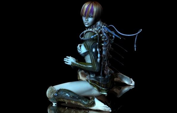 Picture girl, cyborg, tube, 3d art