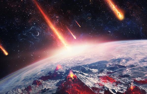 Picture space, meteorites, art, desktopography, planet, reset