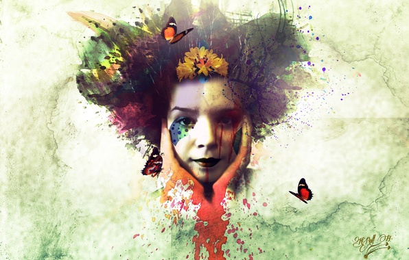 Picture girl, butterfly, face, paint, spot