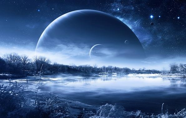 Picture winter, space, snow, stars, Planet, QAuZ