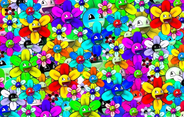 Photo wallpaper bright, smiley, flower, abstraction
