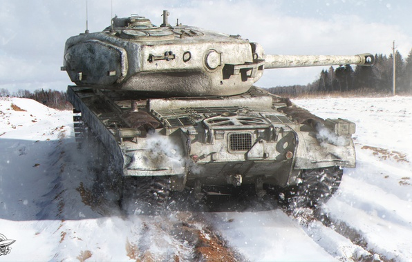 Picture winter, field, forest, snow, tank, American, heavy, World of Tanks, T34