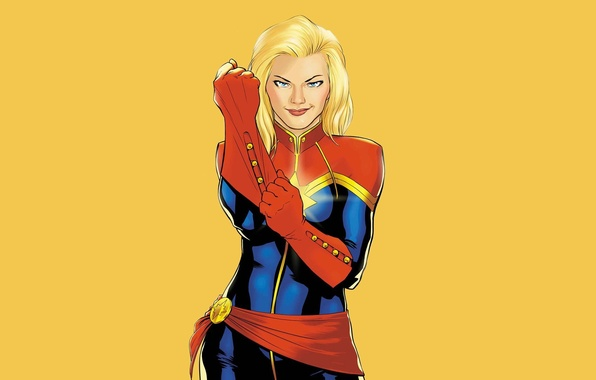 Picture look, background, blonde, costume, Marvel Comics, Ms Marvel