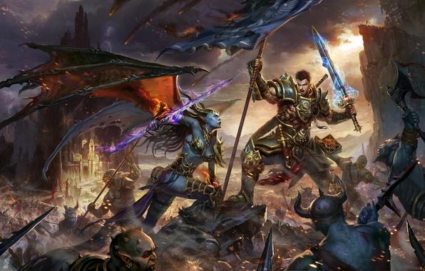 Picture weapons, wings, sword, warrior, art, monsters, battle, the battle, demoness, banner