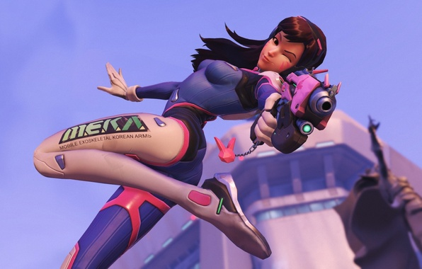 Picture girl, gun, beauty, blizzard, Overwatch, D.Va