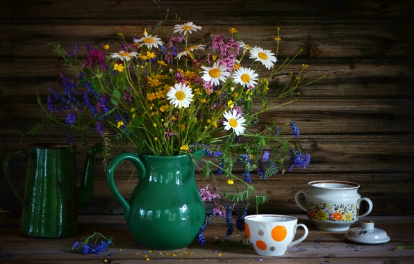 Picture summer, chamomile, bouquet, Cup, dishes, clover, still life, wildflowers, buttercups, sugar bowl, coffee pot, sweet …