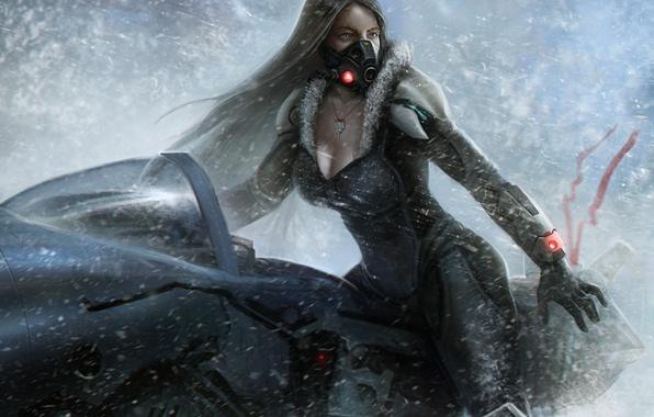Picture cold, girl, snow, transport, planet, mask, art, Salvador Trakal