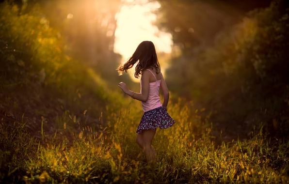 Picture grass, nature, girl, bokeh, child