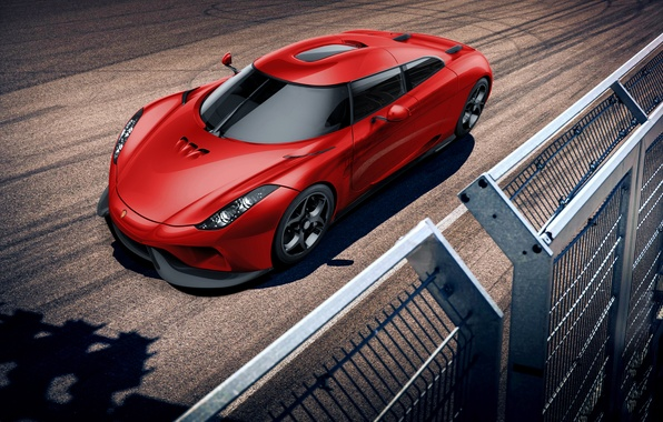 Picture Koenigsegg, Red, Power, Front, Supercar, Track, Regera