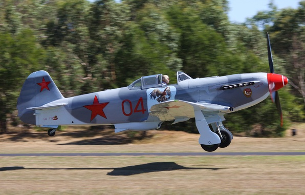 Picture the plane, engine, height, speed, blur, fighter, USSR, club, military, collection, bokeh, Soviet, single-engine, Yakovlev, …