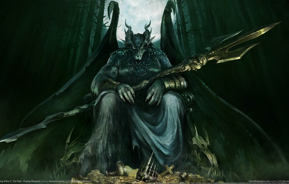 Picture forest, weapons, the moon, wings, monster, the demon, horns, treasure, The Role - Playing Wargame, …