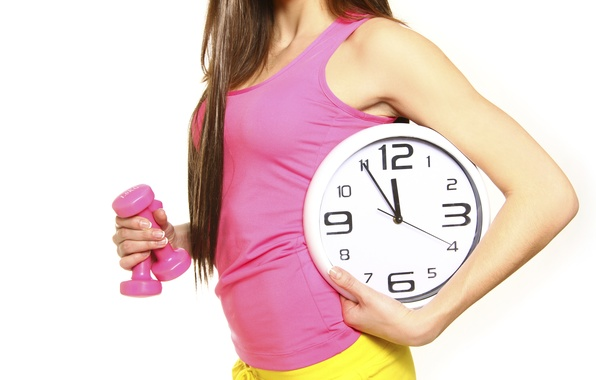 Picture woman, watch, dumbbells