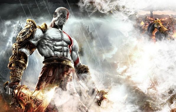 Picture fire, flame, sword, armor, god of war, kratos, god of war 3, ps3, god, strong, …