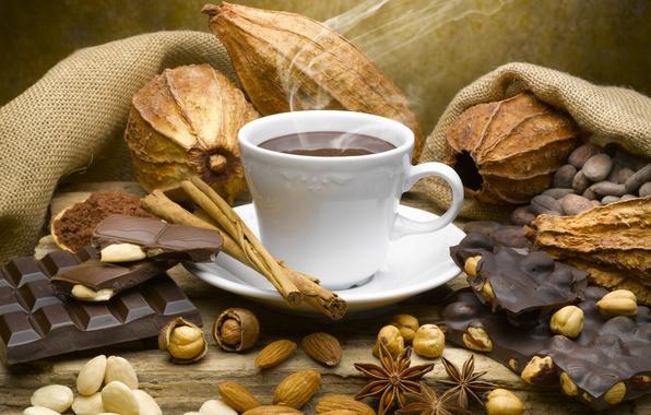 Picture coffee, chocolate, mug, drink, nuts, cinnamon, smoke, star anise
