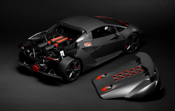 Picture Lamborghini, Grey, Sesto Elemento, Supercar, Hood, Rear