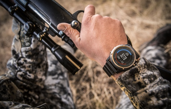 Photo wallpaper camouflage clothing, Smartwatch, rifle