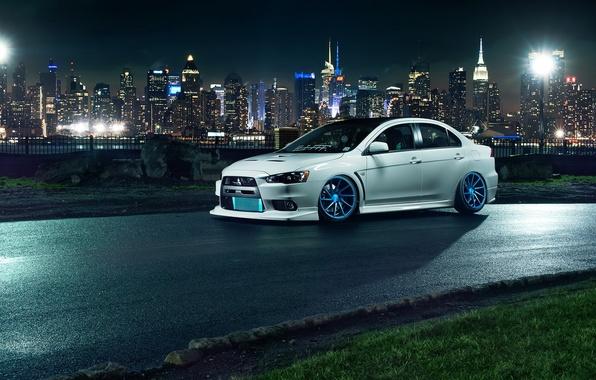 Picture car, night, the city, tuning, tuning, evo x, mitsubishi lancer