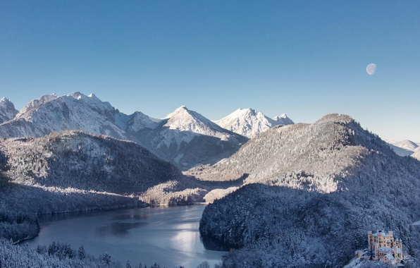 Picture winter, forest, snow, mountains, nature, lake, castle