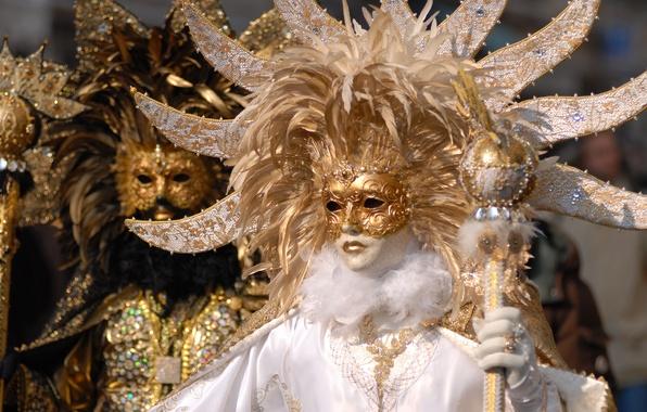 Picture white, photo, black, gold, carnival, mask, Venice, costumes