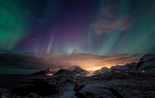 Picture snow, mountains, night, the ocean, Northern lights, glow