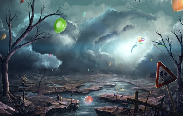 Picture clouds, birds, river, balloons, Apocalypse, people, art