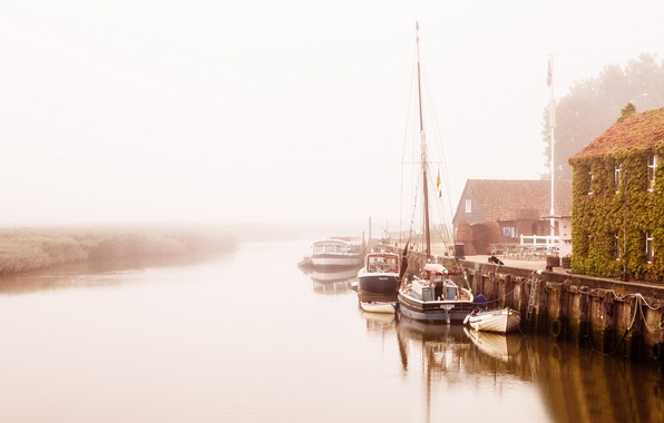 Picture fog, river, home, boats, morning, pier