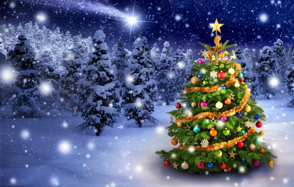 Picture winter, snow, snowflakes, toys, tree, New Year, Christmas, Christmas, winter, snow, tree, decoration, Merry
