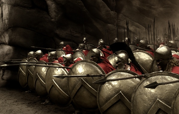 Picture shields, spears, 300, the Spartans