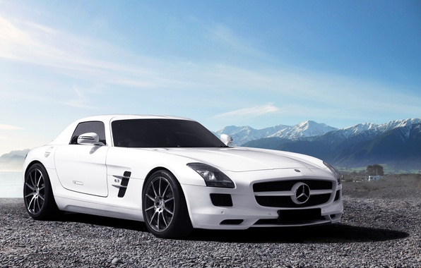 Picture white, the sky, mountains, Mercedes-Benz, horizon, white, AMG, SLS, front, Mercedes Benz
