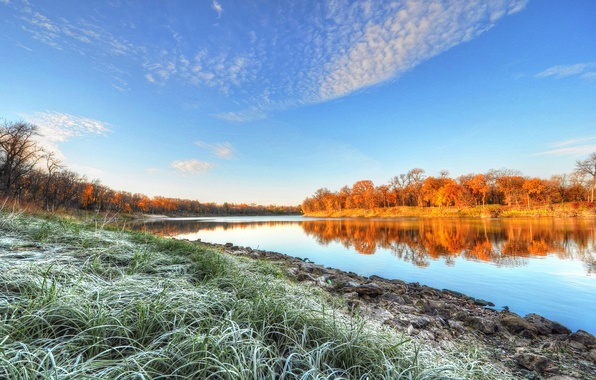 Picture frost, autumn, the sky, grass, trees, river, morning