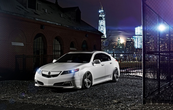 Picture night, the city, tuning, white, honda, Honda, accord, chord, acura, Acura, tsx