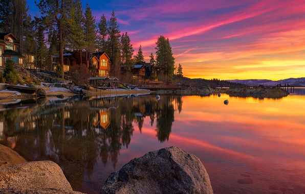 Picture the sky, clouds, snow, trees, sunset, lake, stones, home, CA, USA, Tahoe