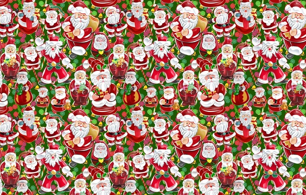 Picture figure, new year, gifts, Santa Claus, Santa Claus, texture, a lot, box