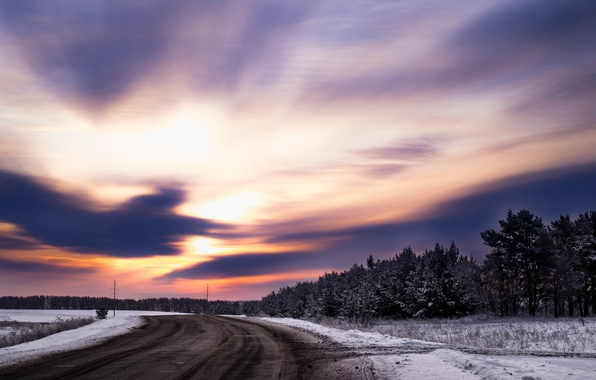 Picture winter, road, forest, the sky, grass, clouds, light, snow, trees, sunset, nature, The sun, beauty, …