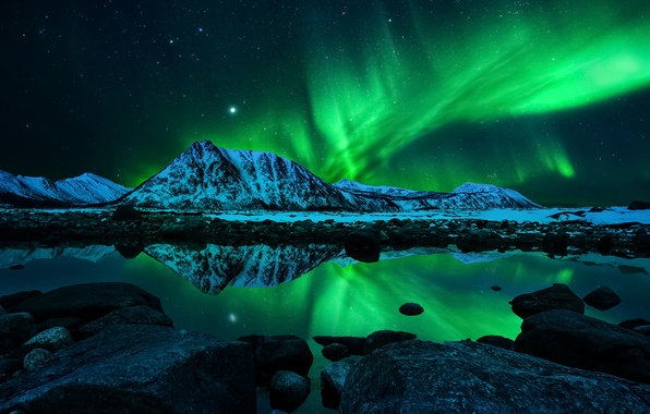 Picture the sky, stars, mountains, night, lights, reflection, Northern lights, Aurora Borealis