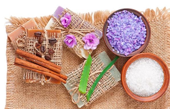 Picture soap, relax, soap, flowers, Spa, coffee, lavender, spa, salt, natural, aloe, cloth, bath salt