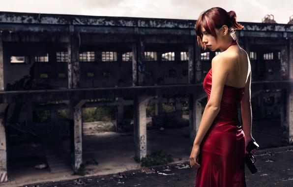 Picture girl, gun, dress, in red, Resident Evil