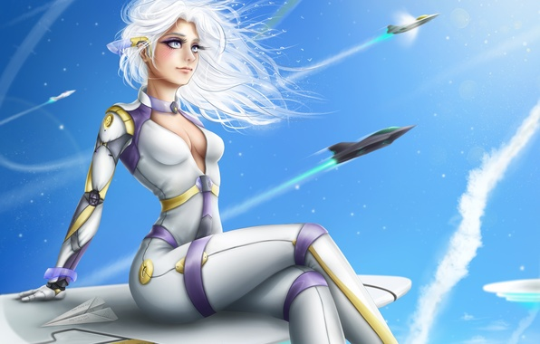 Picture chest, girl, mood, aircraft, costume, beauty, white hair
