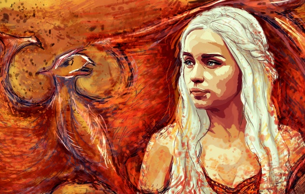 Picture dragon, figure, art, blonde, Game Of Thrones, Game of Thrones, Emilia Clarke, Daenerys Targaryen, Emilia …
