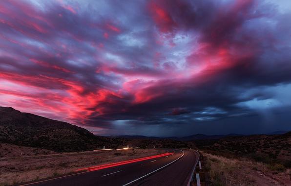 Picture road, summer, the sky, clouds, light, sunset, machine, desert, track, the evening, excerpt, AZ, USA, …