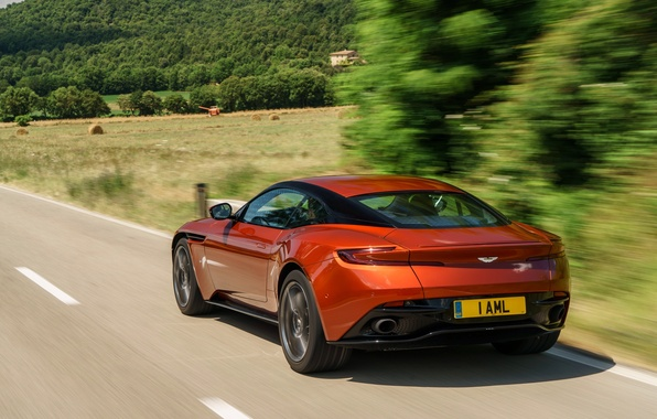 Picture car, auto, Aston Martin, speed, rear view, road, beautiful, speed, DB11
