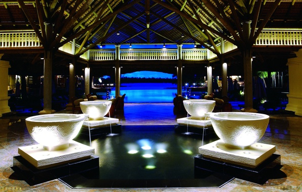 Picture design, style, interior, pool, fountain, Bungalow